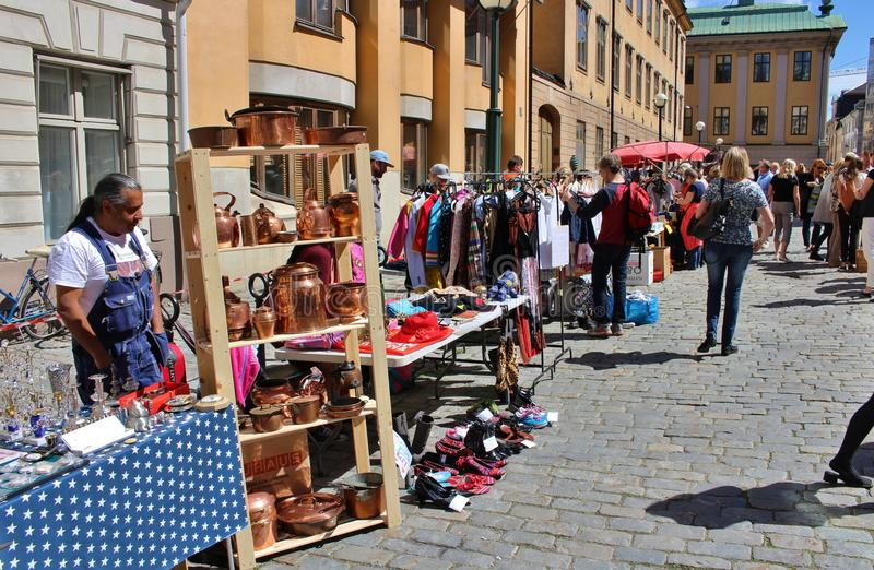 Flea market. On Blasieholmstorg in Stockholm stock image