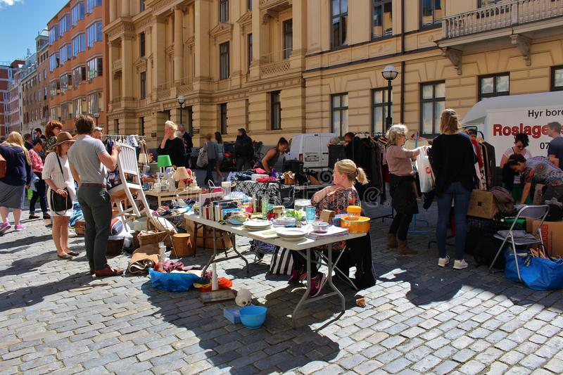 Flea market. On Blasieholmstorg in Stockholm royalty free stock image