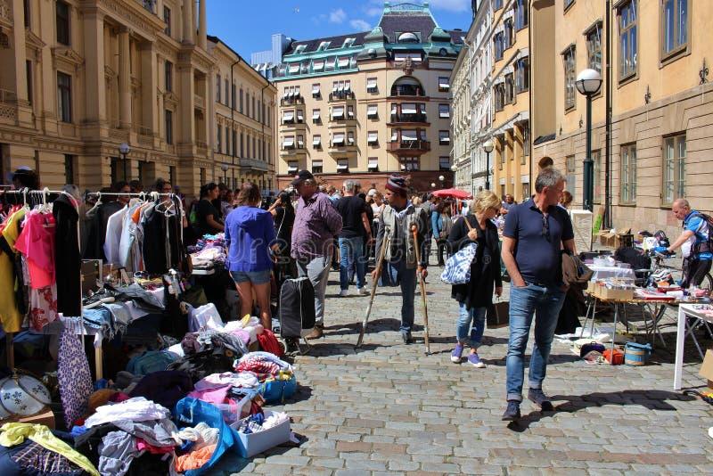 Flea market. On Blasieholmstorg in Stockholm royalty free stock photo
