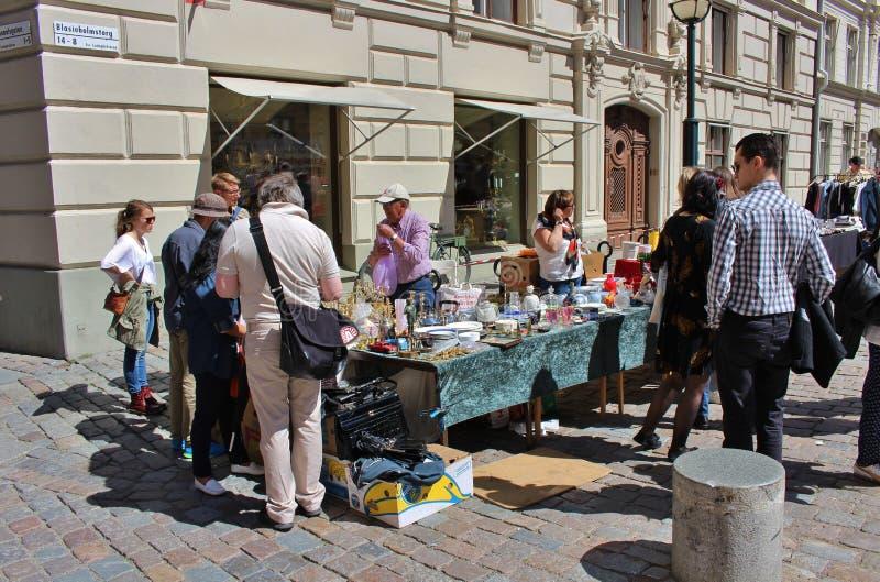 Flea market. On Blasieholmstorg in Stockholm stock photo