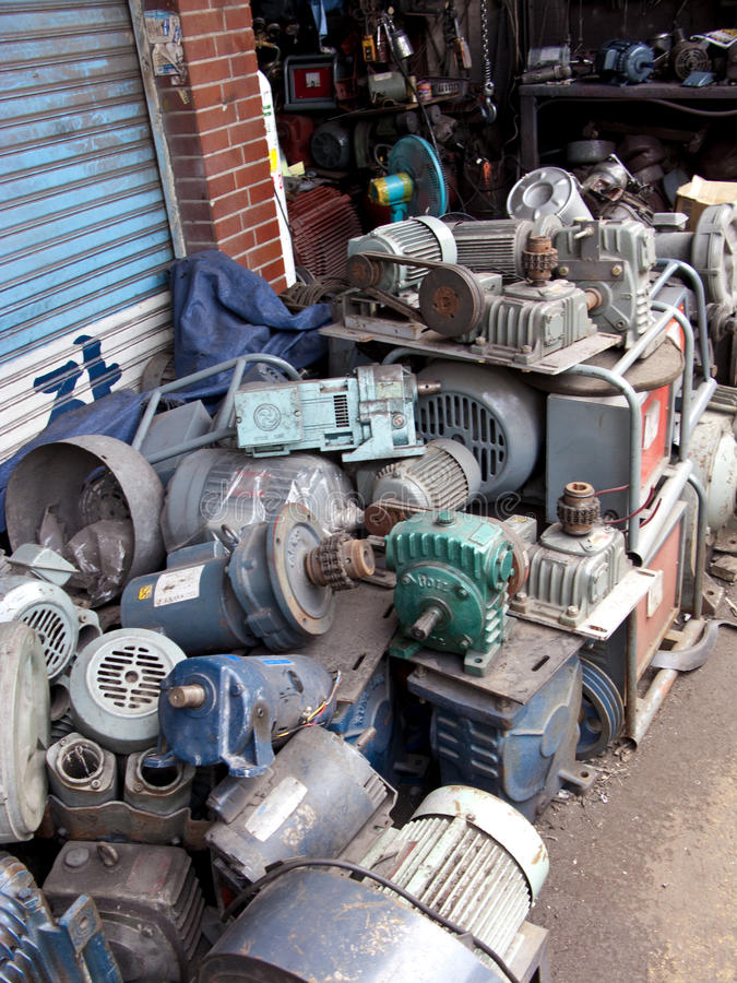 Flea market engines. Flea market in Dongmyo district, Seoul - old and used engines stand royalty free stock photography
