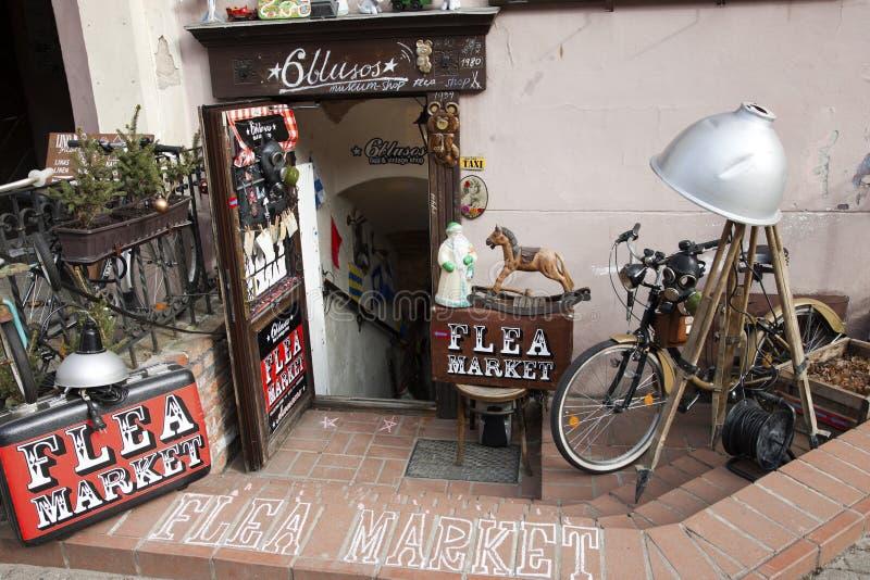Flea market entrance stock photo