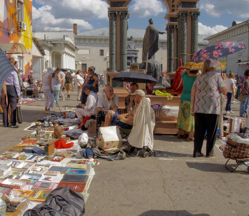 Flea market on a hot day royalty free stock images