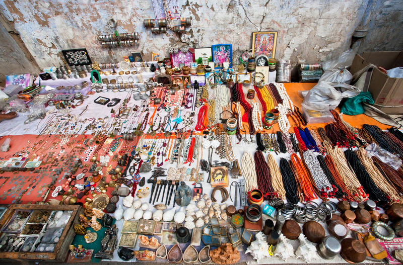 Flea market with jewelry necklaces and vintage goods stock photography