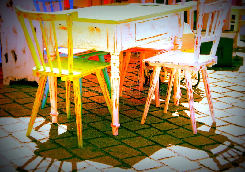 Flea market with kitchen furniture from the 1950s in color processing royalty free stock images