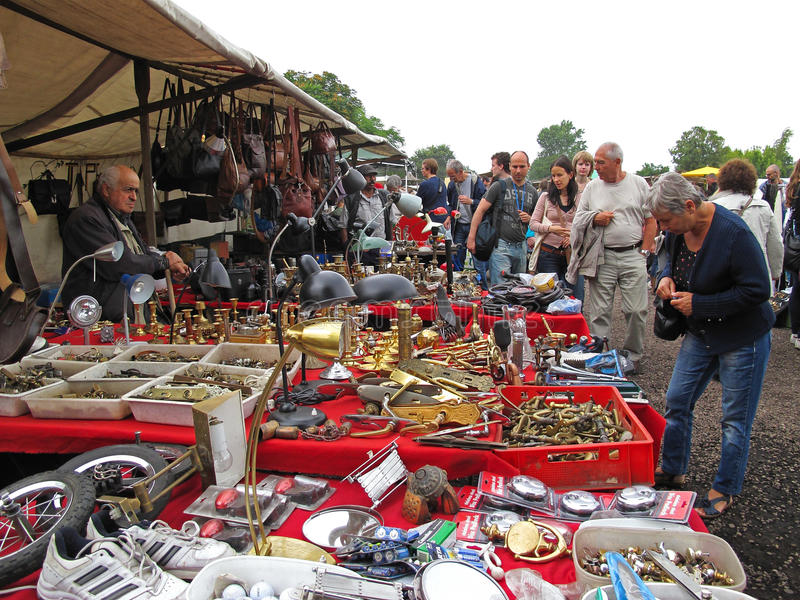 Flea market Mauerpark, Berlin. Booth at the famous flea market Mauerpark taking place every Sunday. Berlin, Germany stock image