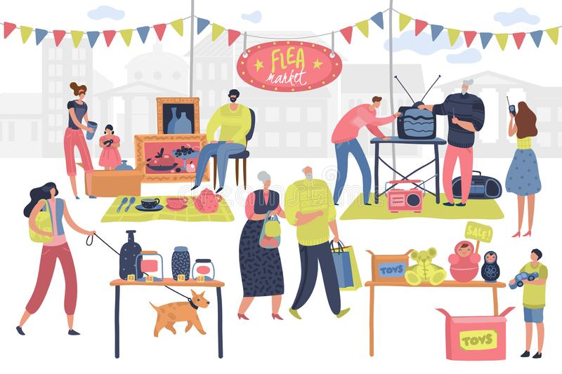 Flea market. People on fashionable shopping second hand retro goods clothes swap meet bazaar. Shoppers on fleas market. Vector concept royalty free illustration