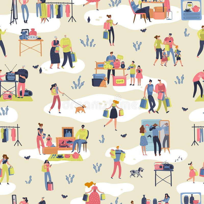Flea market. People shopping second hand stylish goods clothes swap meet bazaar texture. Fleas market seamless pattern. Flea market. People shopping second hand stock illustration