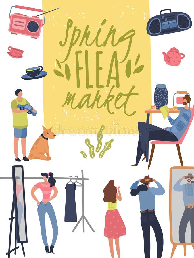 Flea market poster. Fashionable shopping second hand stylish goods clothes swap meet bazaar. Fleas market background. Flea market poster. Fashionable shopping royalty free illustration