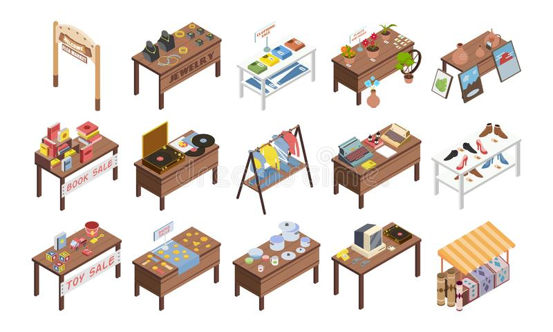 Flea Market Stalls Set. Set of isolated flea market garage isometric images with wooden tables and stalls with various goods vector illustration vector illustration