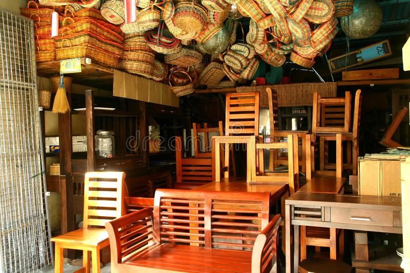 Flea Market Store Near Dapitan Arcade In Manila Philippines Selling Wooden Furniture Editorial