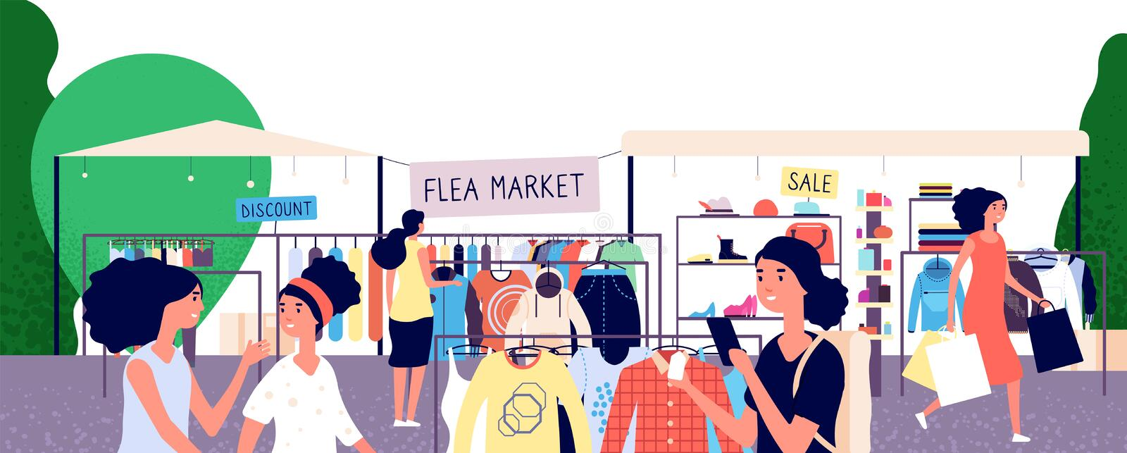 Flea market. Women shoppers choosing fashion clothes at bazaar. Garage street sale and secondhand shopping vector. Concept. Shopping outdoor bazaar illustration royalty free illustration