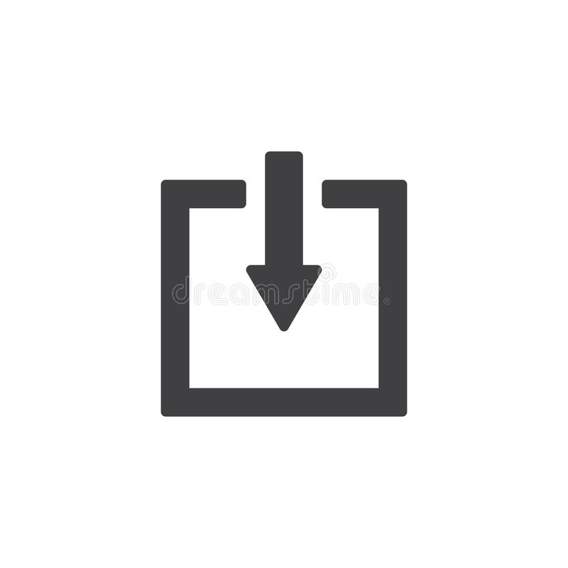 Flecha abajo del icono del vector del botón del elevador ilustración del vector