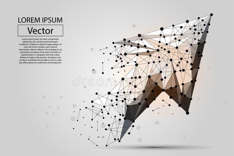 Flecha abstracta de la línea del puré y del vector del punto stock de ilustración