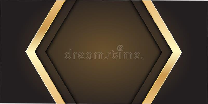 Flecha abstracta del oro en gris con vector futurista de lujo moderno del fondo del diseño en blanco del centro espacial stock de ilustración