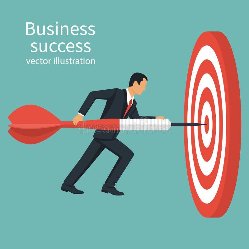 Flecha acertada del control del hombre de negocios a disposición ilustración del vector