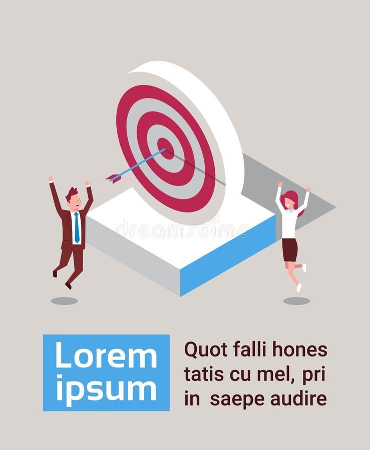 Flecha acertada del golpe del hombre y de la mujer de negocios en la estrategia del éxito de la blanco isométrica stock de ilustración