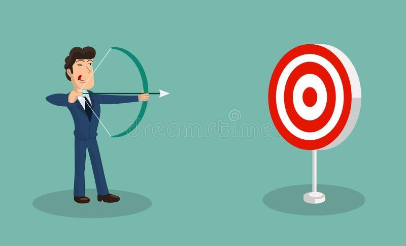 Flecha acertada del tiroteo del hombre de negocios en la blanco imagenes de archivo