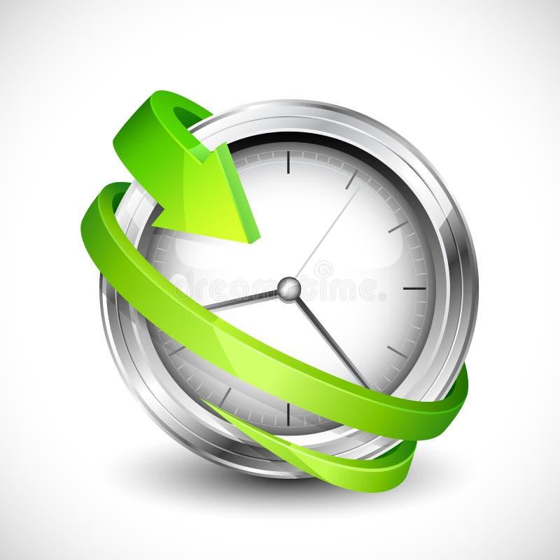 Flecha alrededor del reloj ilustración del vector