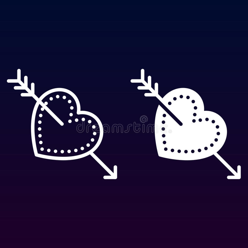 Flecha ame, del cupido en línea de corazón e icono sólido, esquema y pictograma llenado de la muestra del vector, linear y lleno  stock de ilustración