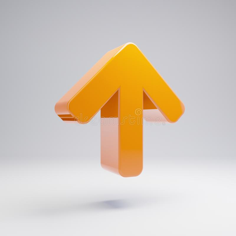 Flecha anaranjada caliente brillante volumétrica encima del icono aislado en el fondo blanco foto de archivo libre de regalías