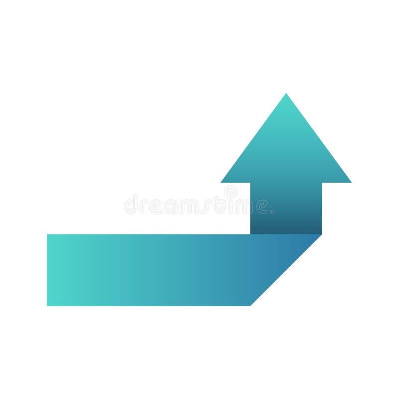 Flecha azul al gire a la derecha o símbolo izquierdo o botón del icono ilustración del vector