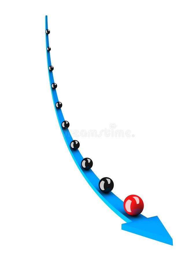 Flecha azul con el grupo negro de la esfera y el arranque de cinta rojo stock de ilustración
