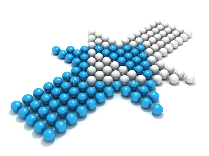 Flecha azul de la esfera del concepto contra el opositor blanco stock de ilustración