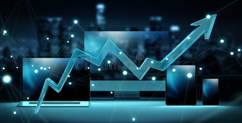 Flecha azul delante de la representación moderna de los dispositivos 3D de la tecnología stock de ilustración