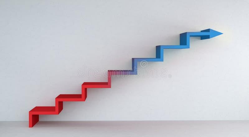 Flecha azul y roja de las escaleras que sube en la representación del muro de cemento 3D libre illustration