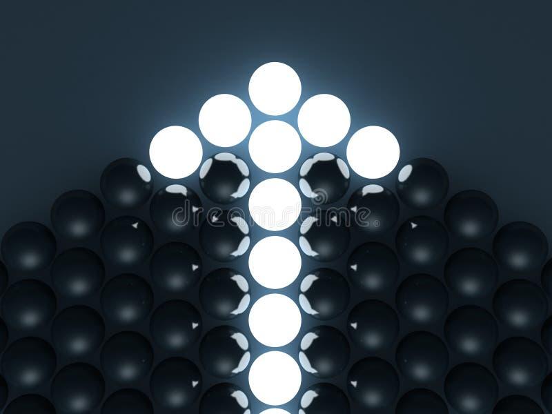 Flecha brillante de bolas oscuras. concepto de la dirección stock de ilustración