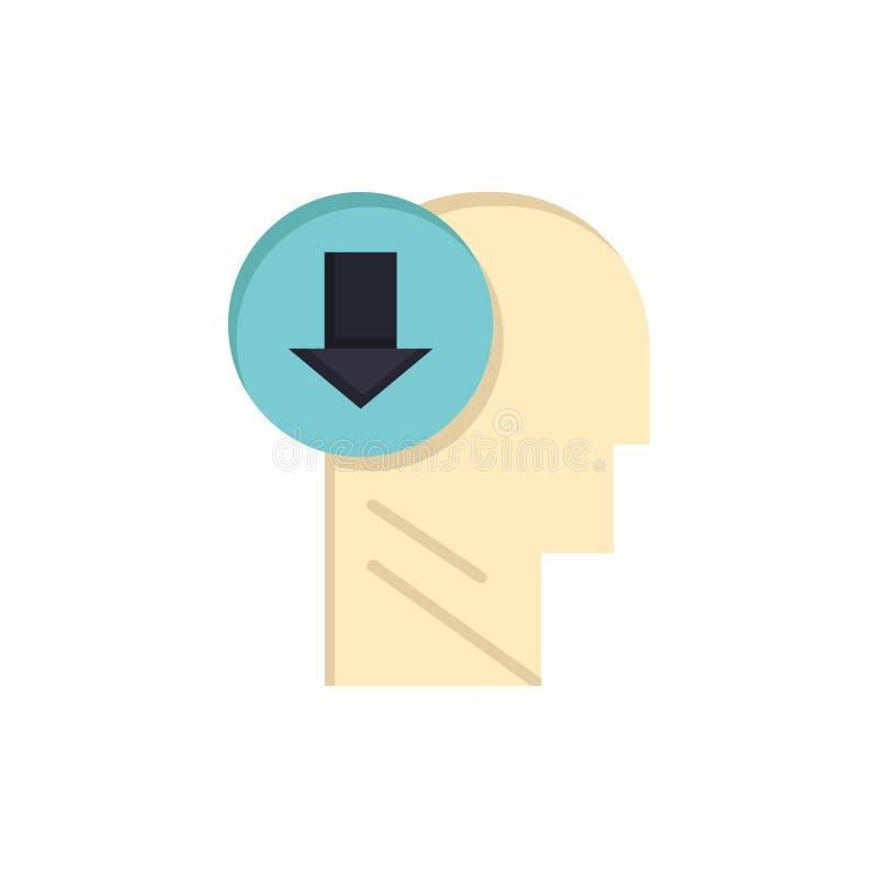 Flecha, cabeza, ser humano, conocimiento, abajo del icono plano del color Plantilla de la bandera del icono del vector stock de ilustración
