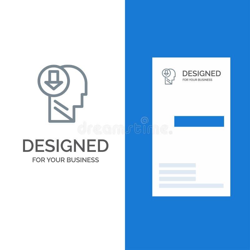 Flecha, cabeza, ser humano, conocimiento, plumón Grey Logo Design y plantilla de la tarjeta de visita stock de ilustración
