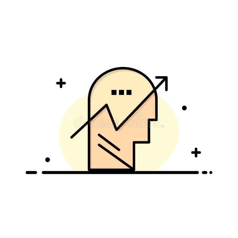 Flecha, carta, ser humano, conocimiento, mente, negocio Logo Template color plano ilustración del vector