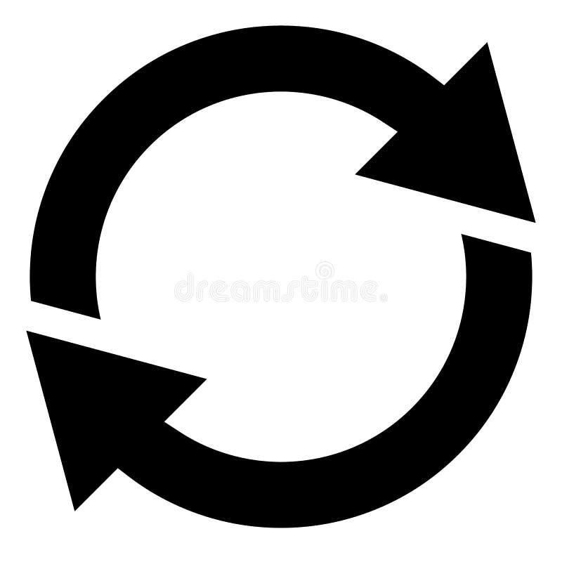 Flecha circular, icono de la flecha del círculo Rotación, recomienzo, torsión, tur ilustración del vector