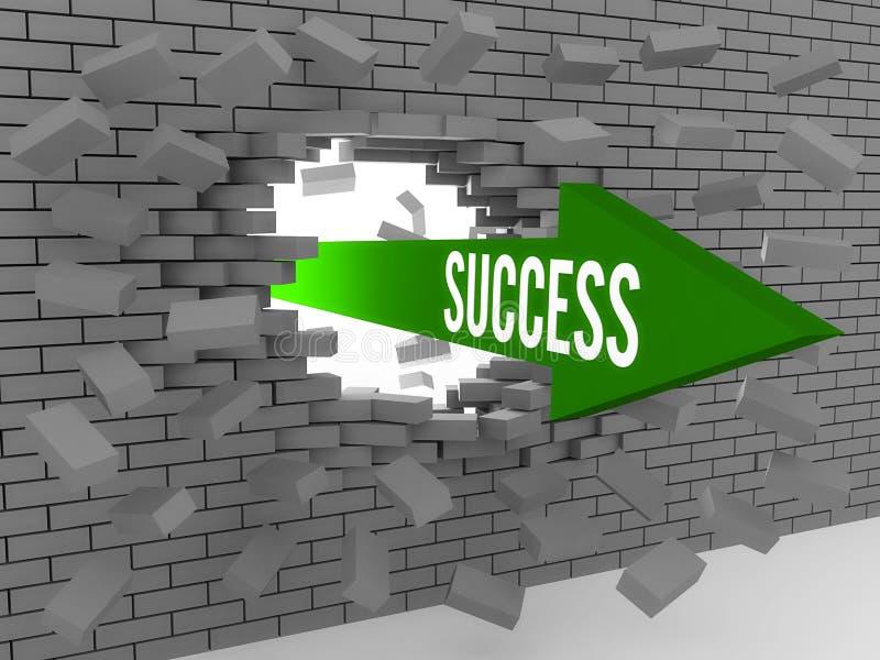 Flecha con el éxito de la palabra que rompe la pared de ladrillo. stock de ilustración