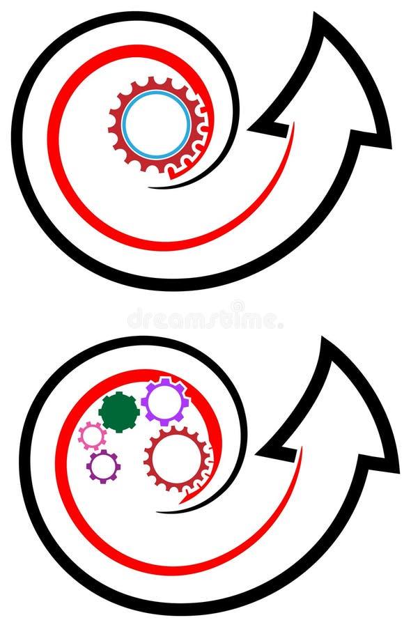 Flecha con el engranaje stock de ilustración