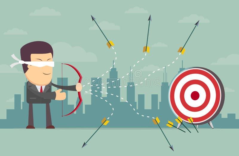 Flecha con los ojos vendados del tiroteo del hombre de negocios libre illustration