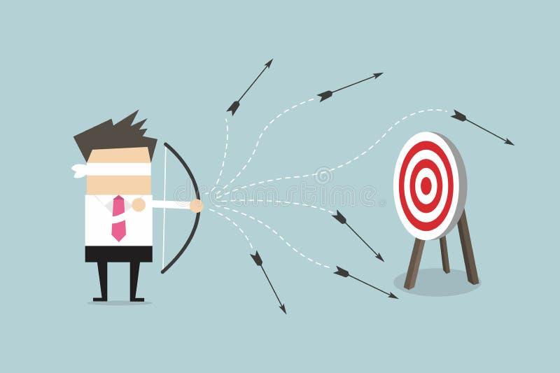 Flecha con los ojos vendados del tiroteo del perdedor del hombre de negocios libre illustration