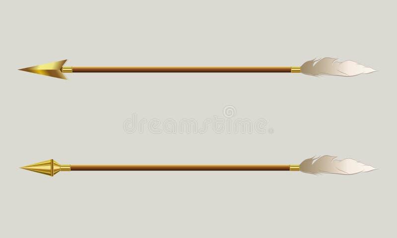 Flecha con una extremidad del oro y una pluma blanca foto de archivo
