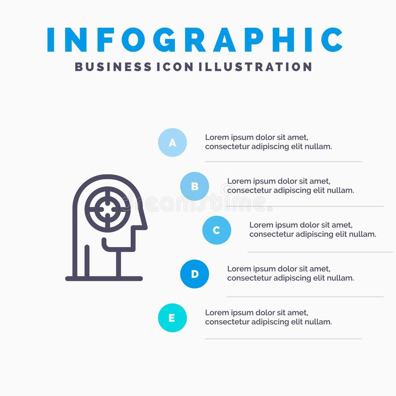 Flecha, concentración, foco, cabeza, línea humana icono con el fondo del infographics de la presentación de 5 pasos libre illustration