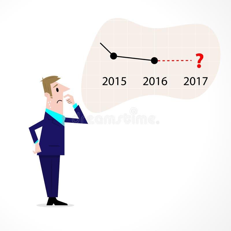 Flecha confusa del mercado de acción del hombre de negocios Hombre de negocios triste ilustración del vector