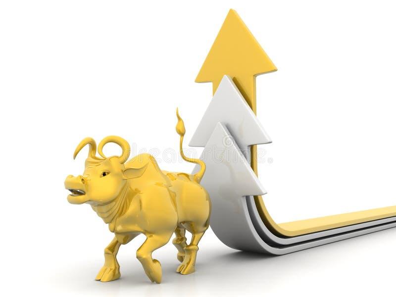 Flecha creciente con Bull imagen de archivo