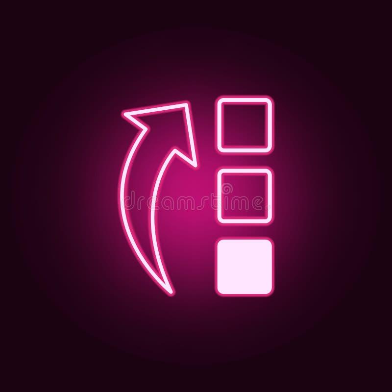 flecha creciente e icono de neón de los cuadrados Elementos del sistema de la web Icono simple para las p?ginas web, dise?o web,  ilustración del vector