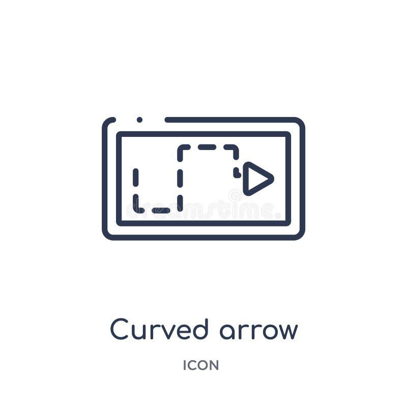 flecha curvada con el icono quebrado de la colección del esquema de la interfaz de usuario La línea fina curvó la flecha con el i libre illustration