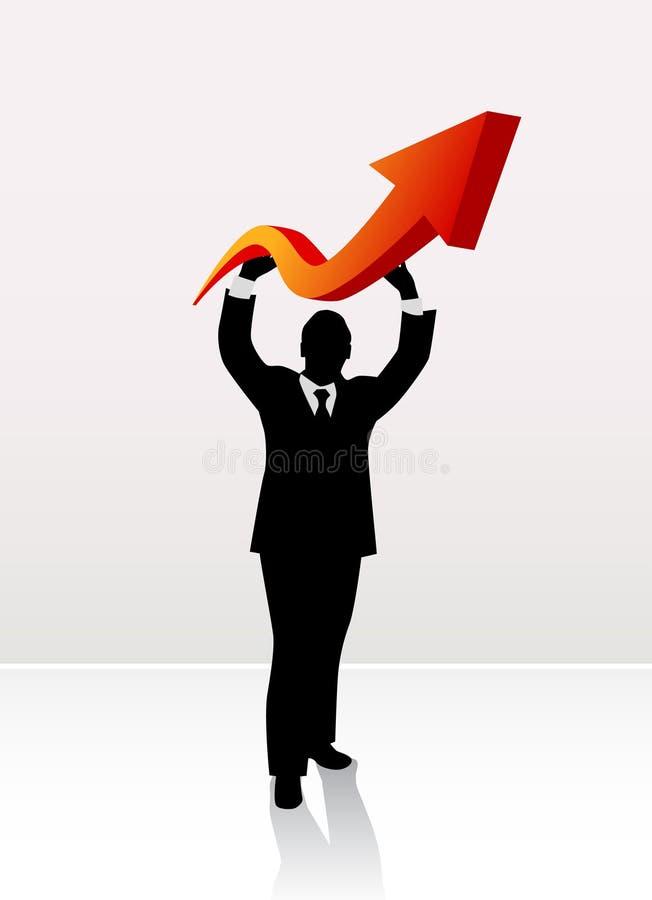 Flecha de elevación del hombre de negocios ilustración del vector