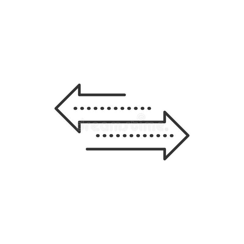 Flecha de la direcci?n transferencia diseño linear moderno del arte gráfico de la tendencia plana simple aislado en el fondo blan libre illustration