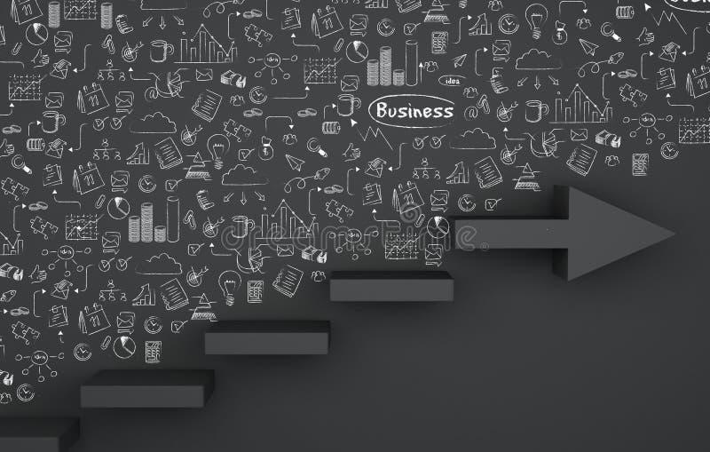 flecha de la escalera 3d con bosquejo del negocio del dibujo stock de ilustración