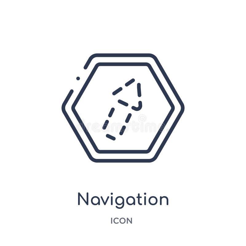 flecha de la navegación con el icono quebrado de la colección del esquema de la interfaz de usuario Línea fina flecha de la naveg ilustración del vector
