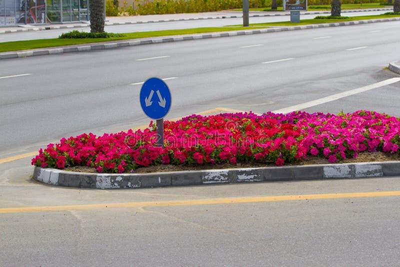 Flecha de la señal de tráfico Señal de tráfico del empalme de bifurcación en el camino con el macizo de flores Muestra azul de la foto de archivo libre de regalías